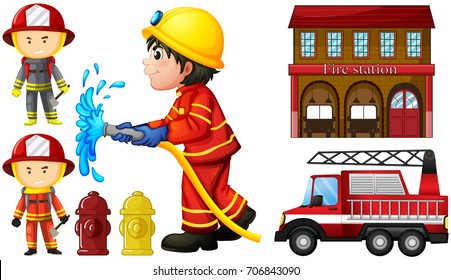 Firefighters and fire station illustration
