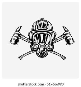 firefighters logo vector black in white