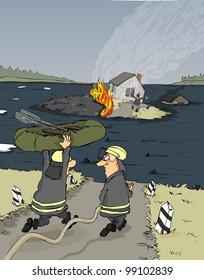 Firefighters must have access to a burning house and submerged