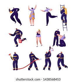 Firefighters, Policemen and Victims Set. Police Officers and Firemen at Work. Criminal Steal Bag, Male Characters in Uniform Spraying Water from Hose Fight with Blaze. Cartoon Flat Vector Illustration