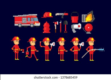 Firefighters set. Pixel art. Old school computer graphic. 8 bit video game. Game assets 8-bit sprite.