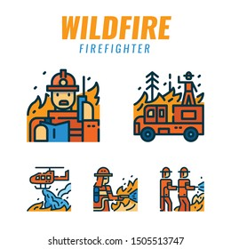 firefighters with wildfire. Filled outline icons design. vector illustration