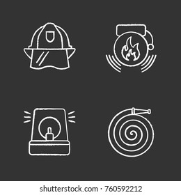 Firefighting chalk icons set. Fire hose, hard hat, alarm bell, fireman siren. Isolated vector chalkboard illustrations