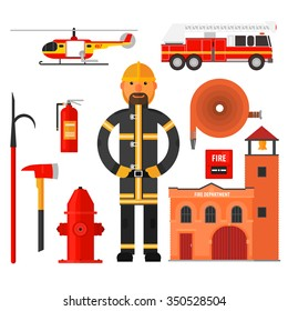 Firefighting character, fire helicopter, hose, fire station Flat style. Elements for infographic.