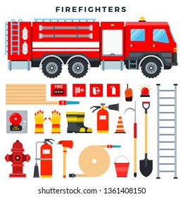 Firefighting equipment and gear, set. everything to fight fire. Fire truck, fire extinguisher, hydrant, hose, ladder, radio, fire signs, boots, gloves, shovel, axe, bucket. Vector illustration.