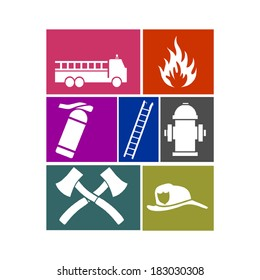 firefighting equipment sign icons - vector illustration isolated on white background
