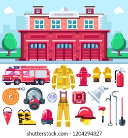Firefighting equipment vector icons set. City fire station illustration. Fire extinguisher, alarm system, hydrant, firemans uniform and car isolated on white background.