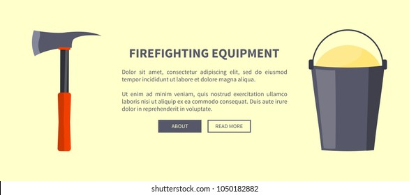 Firefighting equipment vector illustration made in flat design depicting isolated sharp axe with red-colored handle and bucket full of sand on white with place for text.