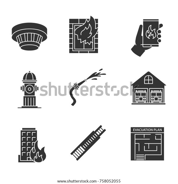 Firefighting Glyph Icons Set Smoke Detector Stock Vector Royalty