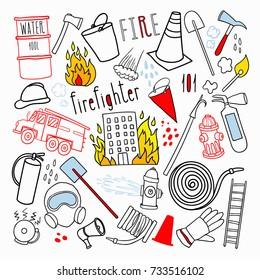 Firefighting Hand Drawn Doodle. Firefighter, Fireman, Emergency Elements Set. Vector illustration