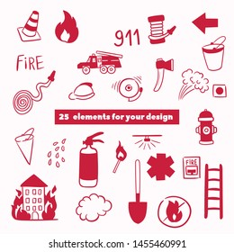 Firefighting hand drawn doodle vector illustration. Firefighter Freehand Doodle. Extinguisher and Equipment Hand Drawn Elements Set for your design