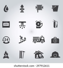 Firefighting icons, black