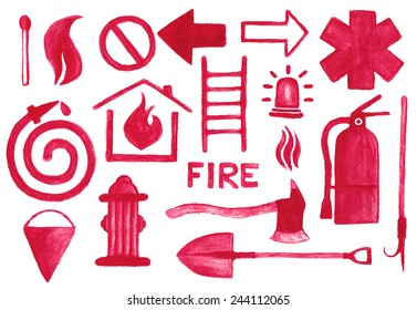 Firefighting icons set. Watercolor signs on the white background, aquarelle pencil.  Vector illustration. Hand-drawn simple decorative elements useful for stands, posters, design.