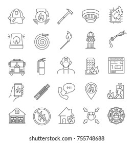 Firefighting linear icons set. Fire station equipment. Thin line contour symbols. Isolated vector outline illustrations. Editable stroke,