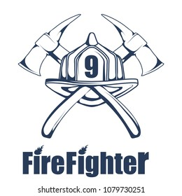 Firefighting logo. The fireman's head in a mask. Fire department label. Vector graphics to design.