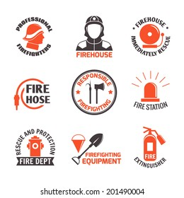 Firefighting professional firehouse immediately rescue label set isolated vector illustration.