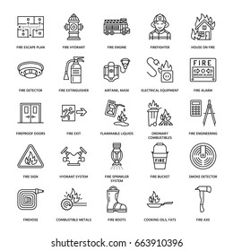 Firefighting safety equipment flat line icons. Firefighter, fire engine extinguisher, smoke detector, house, danger signs, firehose. Flame protection thin linear pictogram.