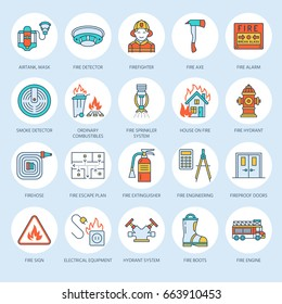 Firefighting, safety equipment flat line icons. Firefighter, fire engine extinguisher, smoke detector, house, danger signs, firehose. Flame protection thin linear colored pictogram.
