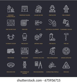 Firefighting, safety equipment flat line icons. Firefighter, fire engine extinguisher, smoke detector, house, danger signs, firehose. Flame protection thin linear pictogram.