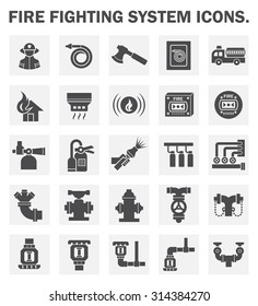 Firefighting system and fire sprinkler vector icon set.