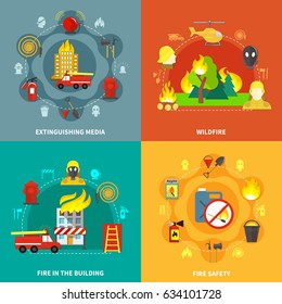 Firefighting tools fire safety burning buildings and forest 2x2 concept isolated on colorful backgrounds flat vector illustration