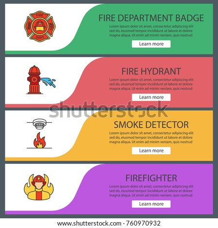 Firefighting Web Banner Templates Set Firefighters Badge Fire Hydrant Smoke Detector Fireman