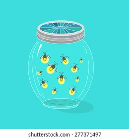 Fireflies, vector illustration