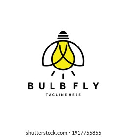 Firefly Insect with Electric Light Bulb Lamp Logo Design