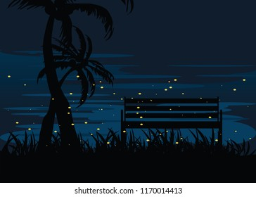 firefly in lake at nights backgrounds vector illustration