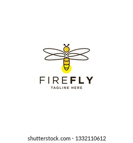 firefly line design, simple concept of bee vector
