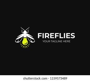 Firefly logo design. Lightning bug vector design. Lampyridae logotype