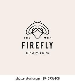 firefly love hipster vintage logo vector icon illustration