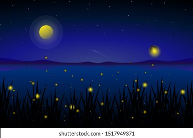 firefly at sea with starry night and colorful sky landscape