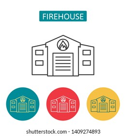 Firehouse building outline icons. Editable stroke fire station sign for website application. Urban infrastructure. Architecture and city institution vector illustration isolated on white background.
