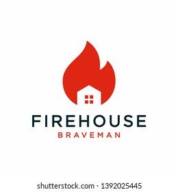 Firehouse logo design concept. Universal firehouse logo.