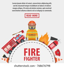 Fireman banner. Set of fire equipment. Vector fire man tools . Flat cartoon fire equipment objects isolated on white background. Fire safety objects.