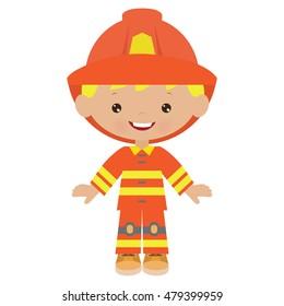 Fireman boy vector illustration