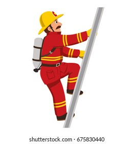 The fireman climbing the stairs.