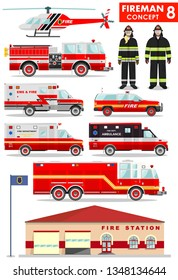 Fireman concept. Detailed illustration of firefighter, firewoman in uniform, fire station building, firetruck and helicopter in flat style on white background. Vector illustration.