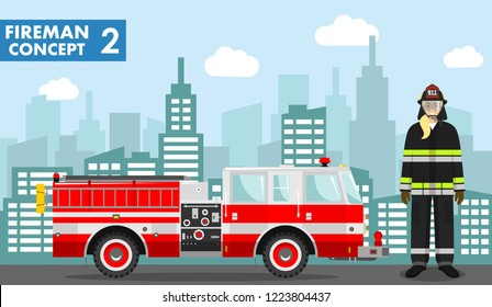 Fireman concept. Detailed illustration of woman firefighter and fire truck in flat style on background with cityscape. Vector illustration.