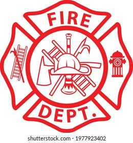 fireman emblem sign on white background. fire department symbol. firefighter's maltese cross. flat style.