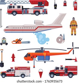 Fireman Equipment Collection, Firefighting Tools and Emergency Service Rescue Vehicles Flat Style Vector Illustration on White Background
