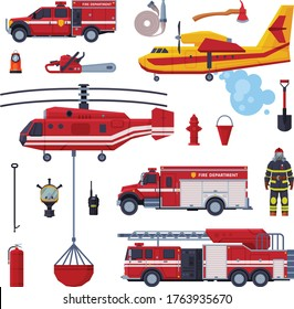 Fireman Equipment Collection, Red Emergency Service Vehicles, Firefighting Tools Flat Style Vector Illustration on White Background