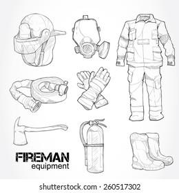 fireman equipment. drawing vector.