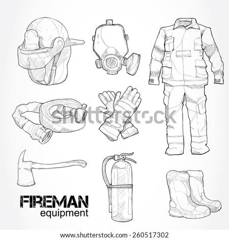 fireman equipment drawing vector stock vector royalty free