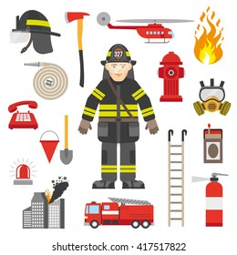 Fireman equipment flat retro style icons collection with red pump and fire extinguisher abstract isolated vector illustration