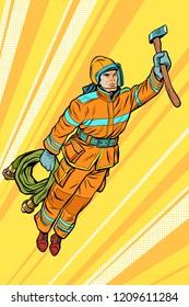 fireman, firefighter flying superhero help. Pop art retro vector illustration vintage kitsch