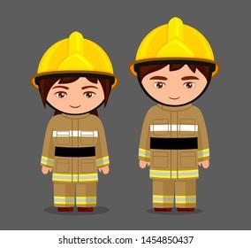 Fireman. Firefighter. Little girl and boy in uniform. Man and woman. Kawaii cartoon characters. Vector flat illustration.