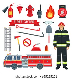 Fireman or firefighter profession and fire extinguishing tools. Vector icons set of fire engine truck and extinguisher, alarm and hammer with water bucket and ladder or spade and hydrant hose