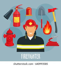 Fireman or firefighter profession icon. Fireman in firefighter uniform with red helmet, fire hose, flame, extinguisher, hydrant, shovel, axe, flashing light for rescue and emergency service design